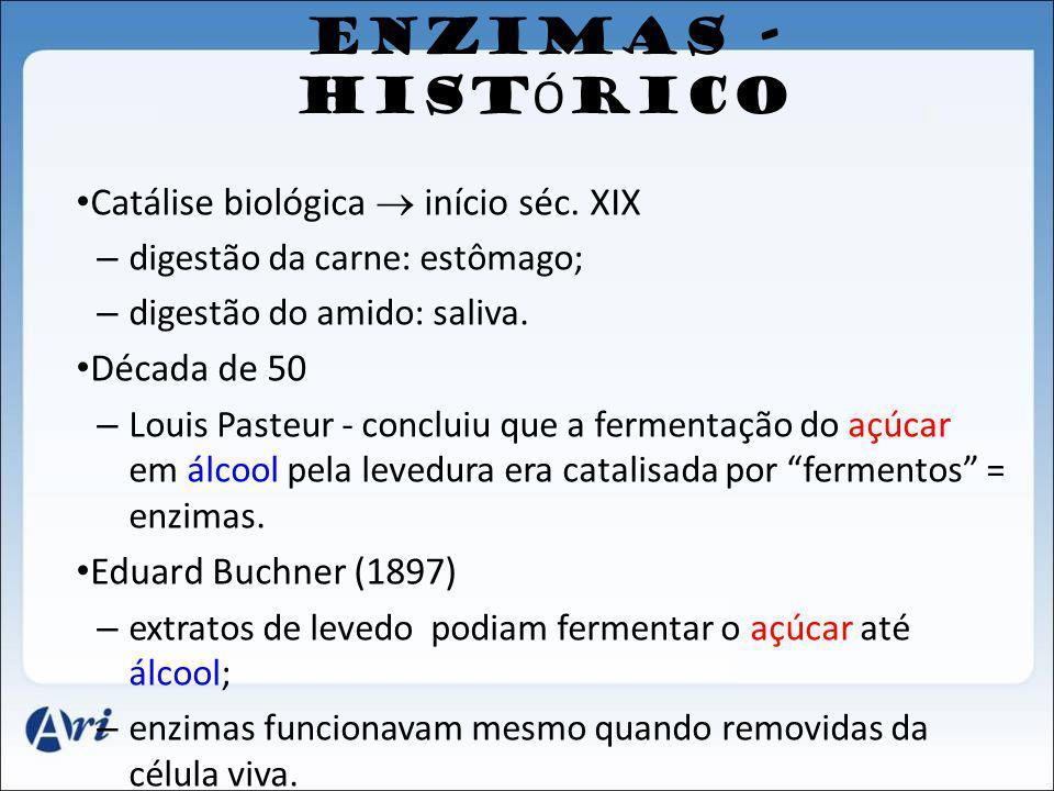 ENZIMAS - HISTÓRICO Catálise biológica  início séc. XIX Década de 50
