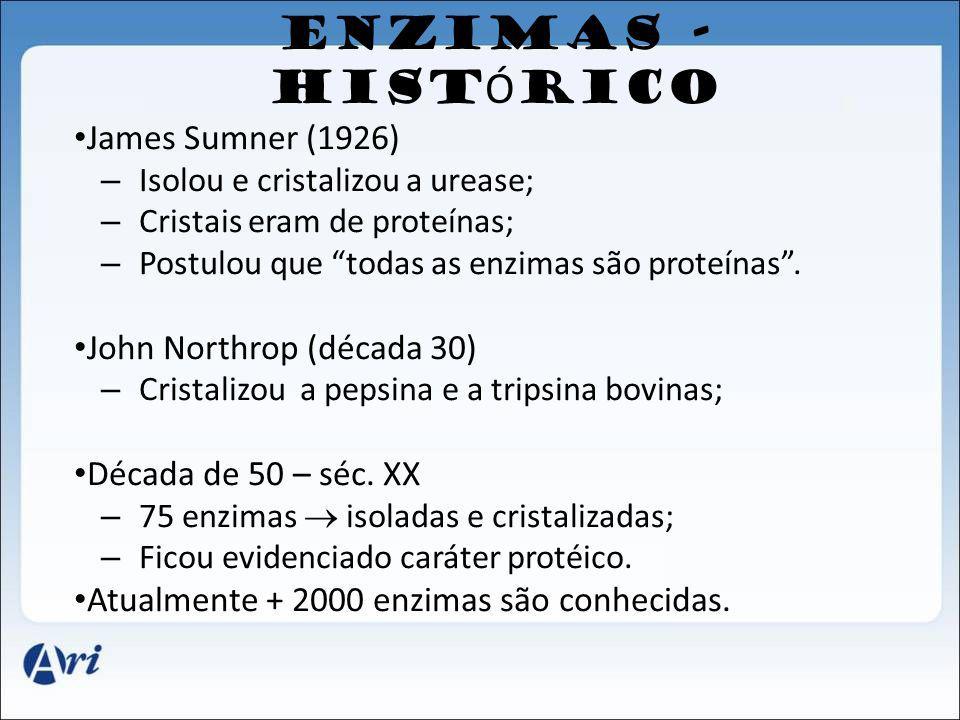 ENZIMAS - HISTÓRICO James Sumner (1926) John Northrop (década 30)