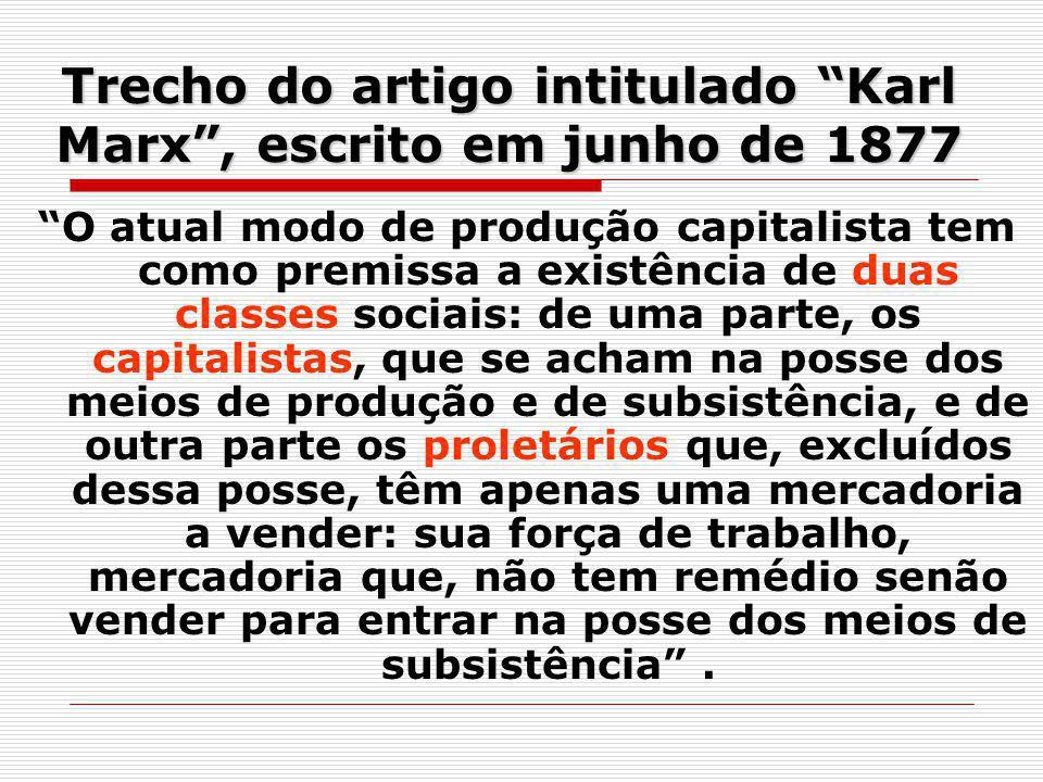 Trecho do artigo intitulado Karl Marx , escrito em junho de 1877