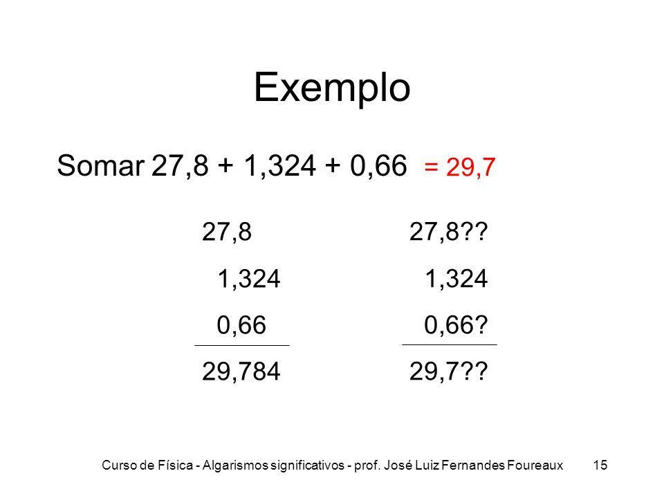 Exemplo Somar 27,8 + 1,324 + 0,66. = 29,7. 27,8. 1,324. 0,66. 29,784. 27,8 1,324. 0,66 29,7
