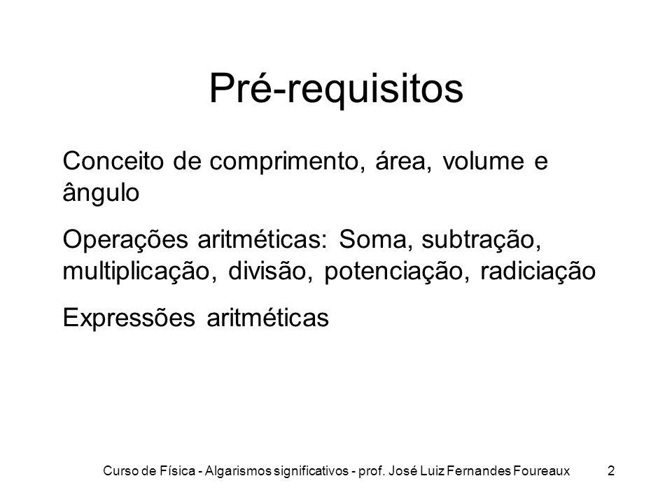 Pré-requisitos Conceito de comprimento, área, volume e ângulo