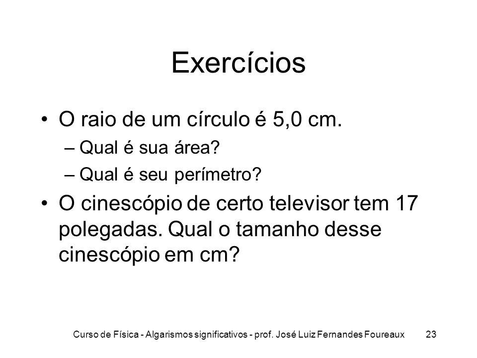Exercícios O raio de um círculo é 5,0 cm.