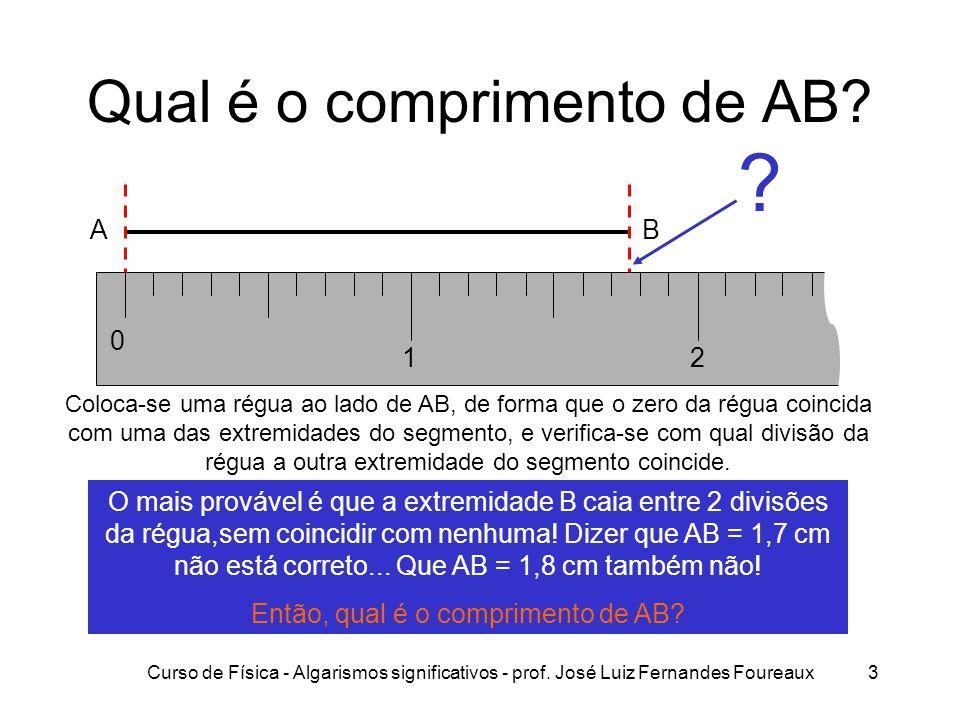 Qual é o comprimento de AB