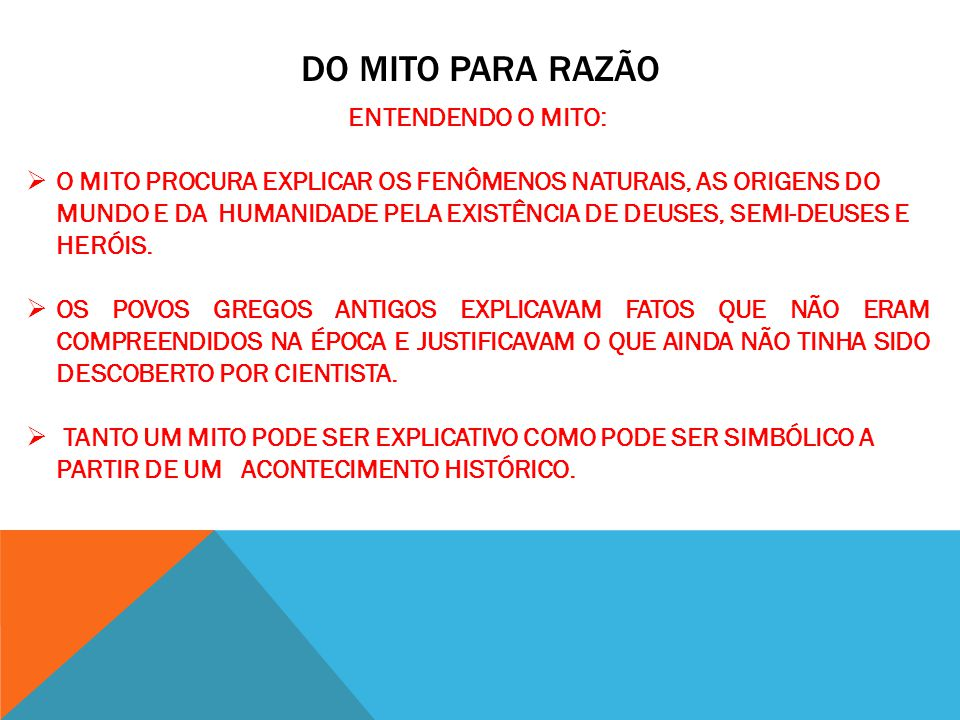 Do Mito para razão ENTENDENDO O MITO: