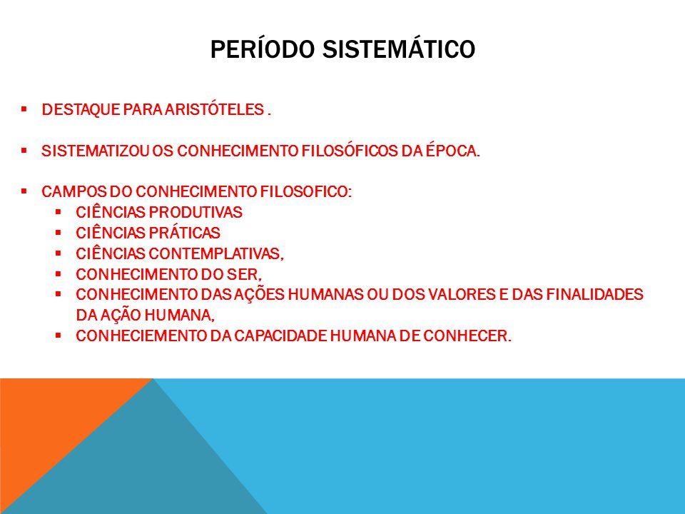 PERÍODO SISTEMÁTICO DESTAQUE PARA ARISTÓTELES .