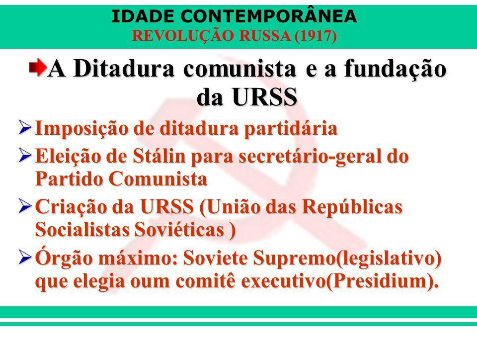 A Ditadura comunista e a fundação da URSS