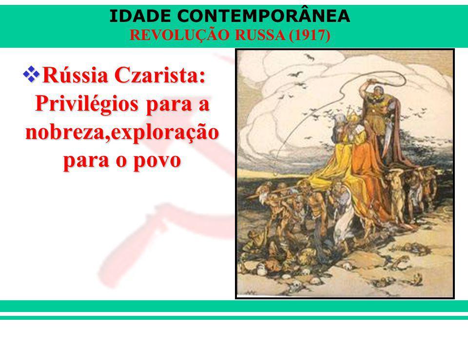 Rússia Czarista: Privilégios para a nobreza,exploração para o povo