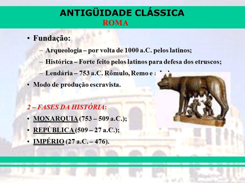 Fundação: Arqueologia – por volta de 1000 a.C. pelos latinos;
