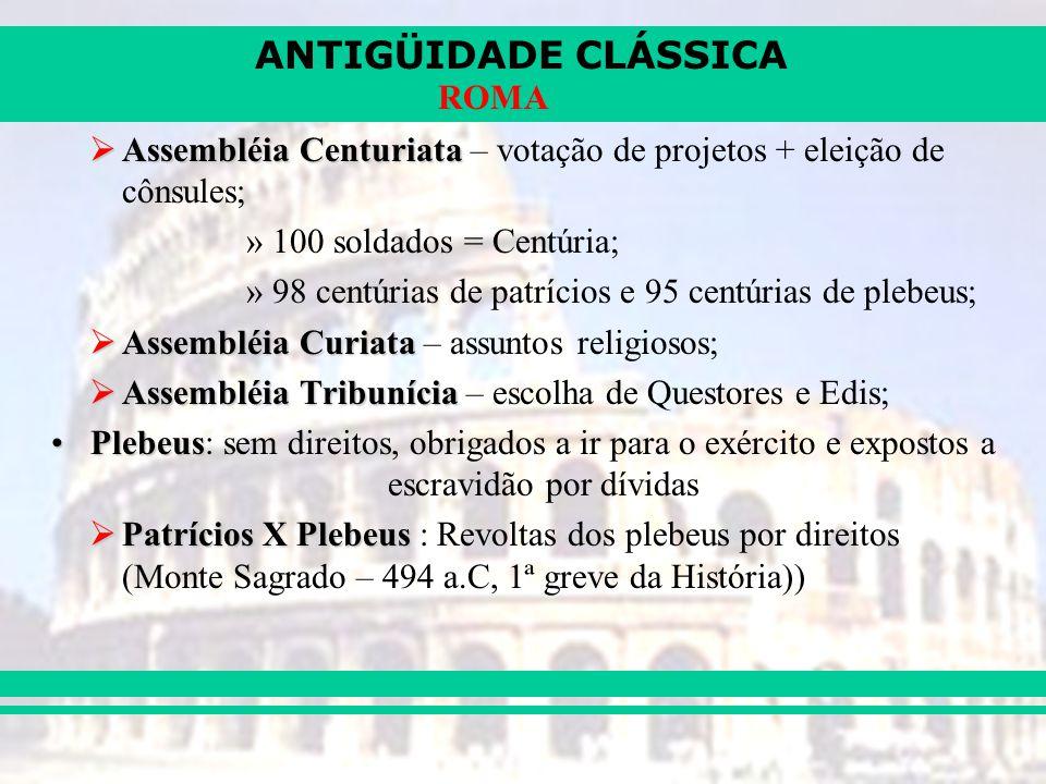 Assembléia Centuriata – votação de projetos + eleição de cônsules;