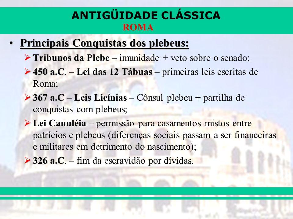Principais Conquistas dos plebeus:
