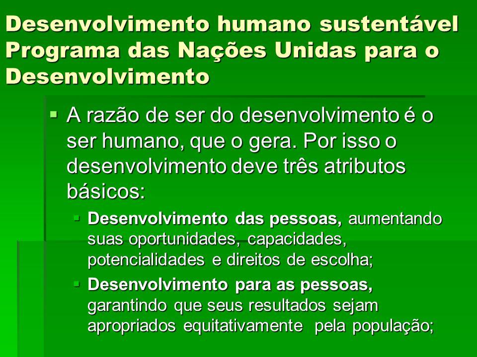 Desenvolvimento humano sustentável Programa das Nações Unidas para o Desenvolvimento
