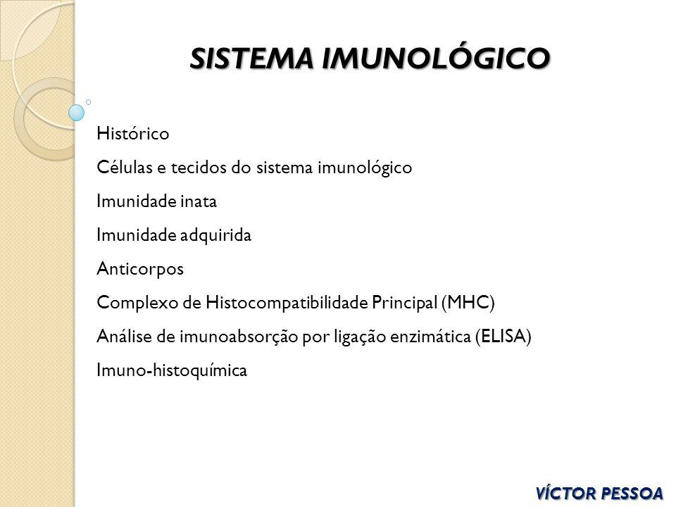 SISTEMA IMUNOLÓGICO Histórico Células e tecidos do sistema imunológico