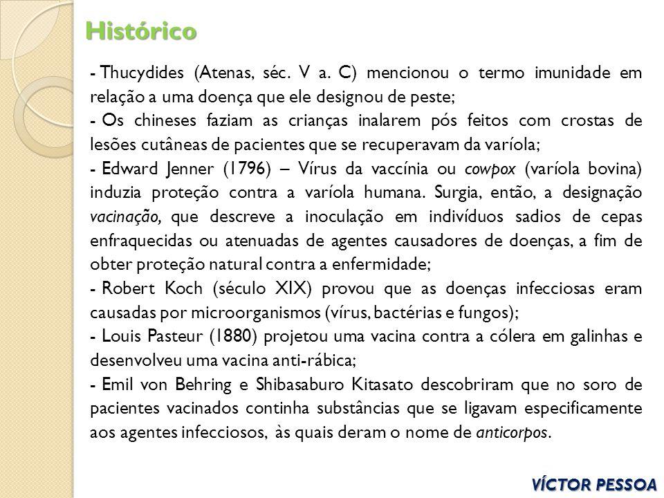 Histórico Thucydides (Atenas, séc. V a. C) mencionou o termo imunidade em relação a uma doença que ele designou de peste;