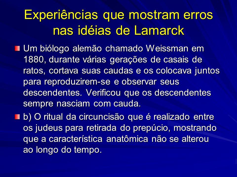 Experiências que mostram erros nas idéias de Lamarck