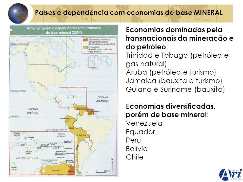 Economias dominadas pela transnacionais da mineração e do petróleo: