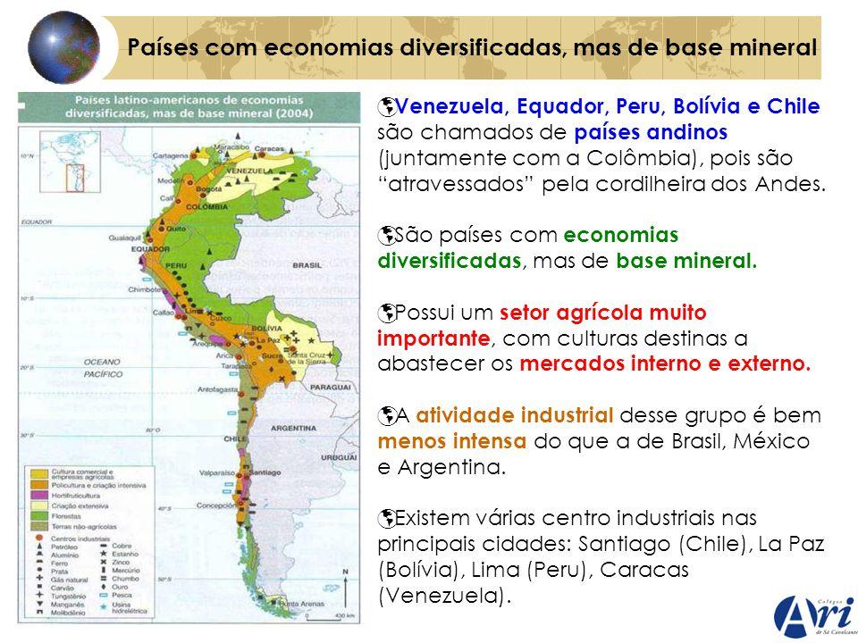 Países com economias diversificadas, mas de base mineral