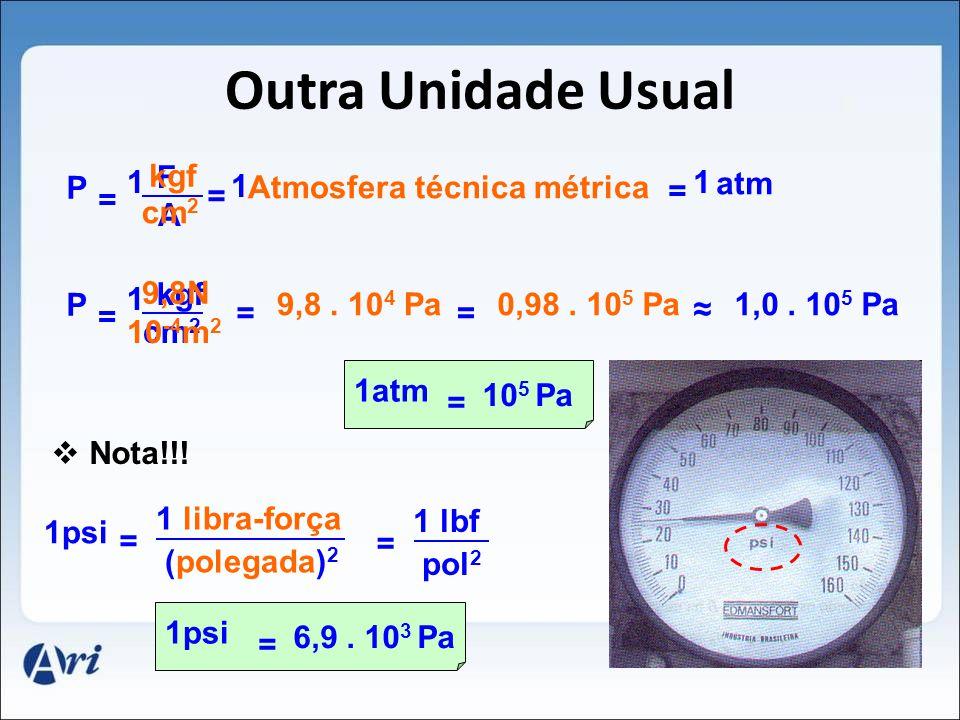 Outra Unidade Usual kgf F P 1 1 Atmosfera técnica métrica 1 atm = = =
