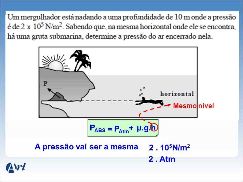 A pressão vai ser a mesma 2 . 105N/m2 2 . Atm