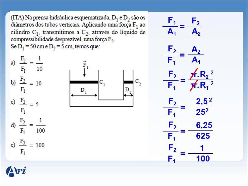 F1 F2. = A1. A2. F2. A2. = F1. A1. F2. π. R2 2. = F1. π. R1 2. F2. 2,5 2. = F1. 252.