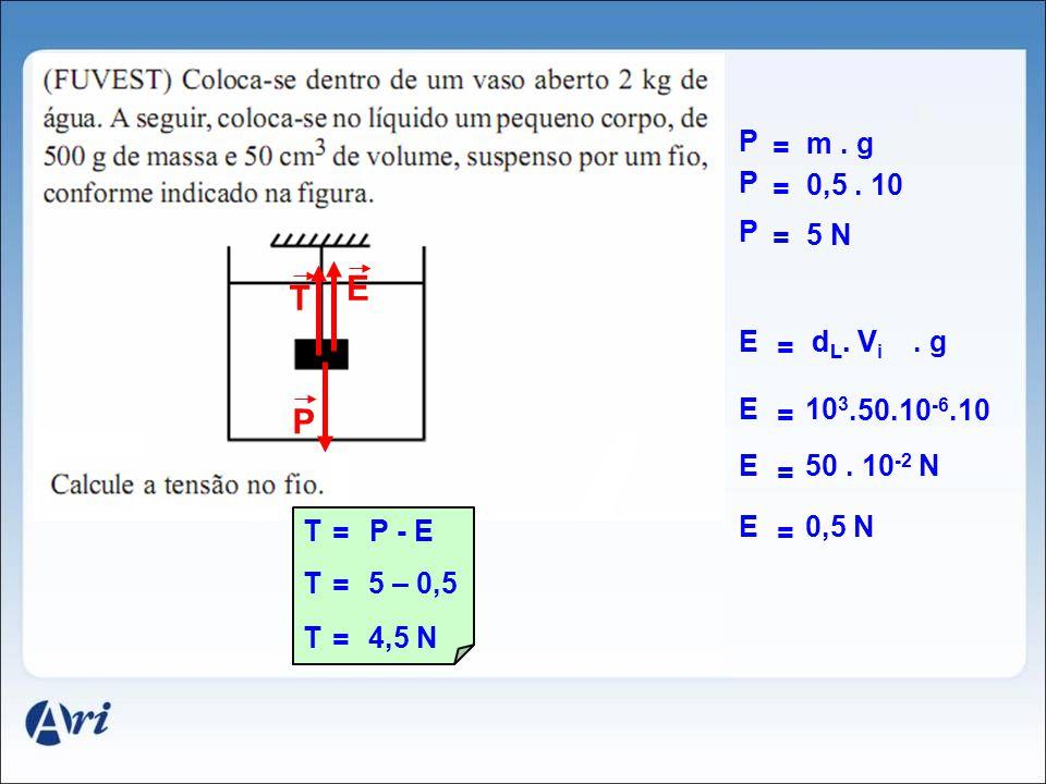 E T P P = m . g P = 0,5 . 10 P = 5 N E dL. Vi dL. V . g = E 103 =