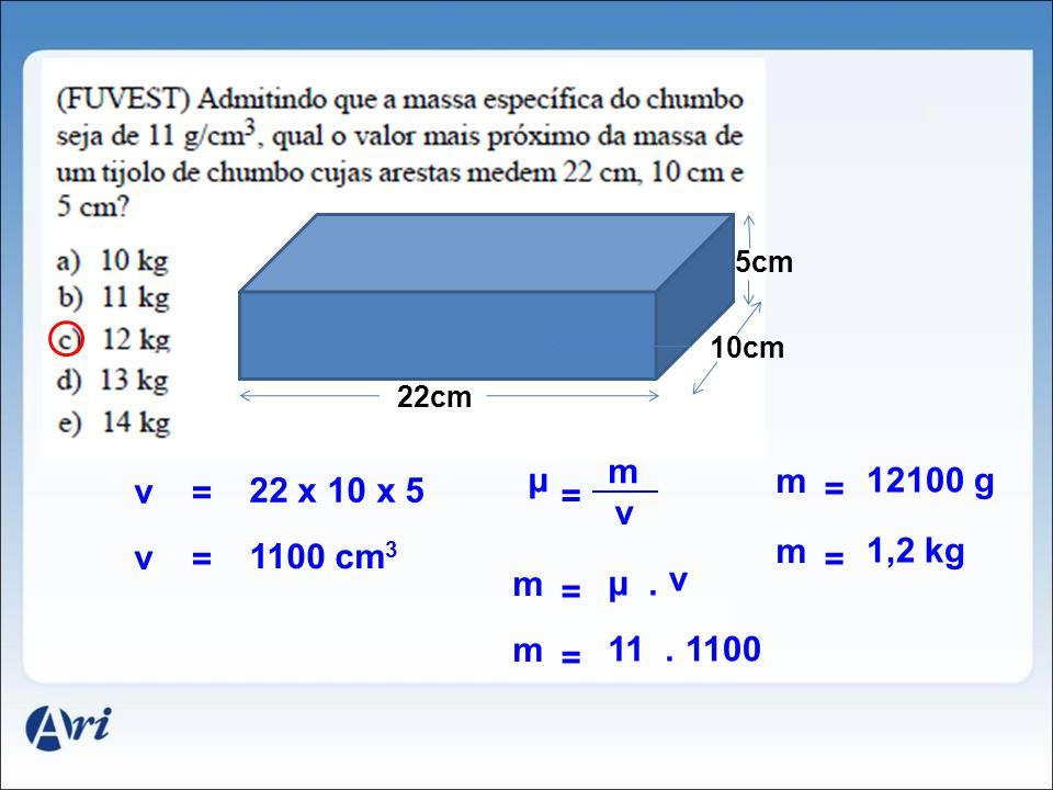 m μ m 12100 g v = 22 x 10 x 5 = = v 1,2 kg v 1100 cm3 m = = m μ . v =