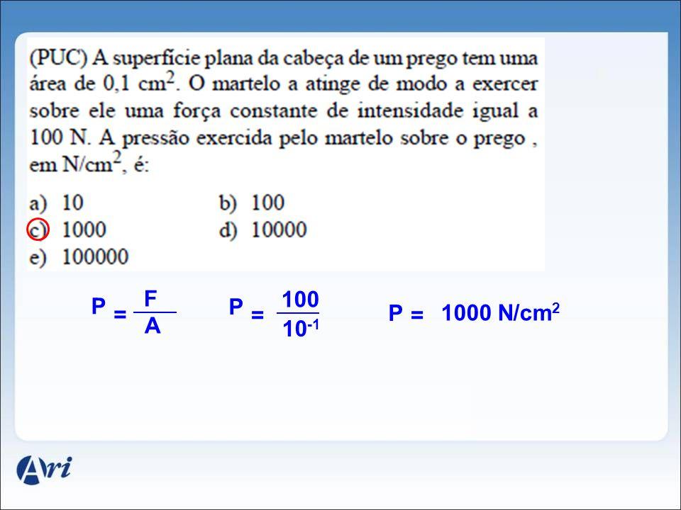 F 100 P P = = P = 1000 N/cm2 A 10-1