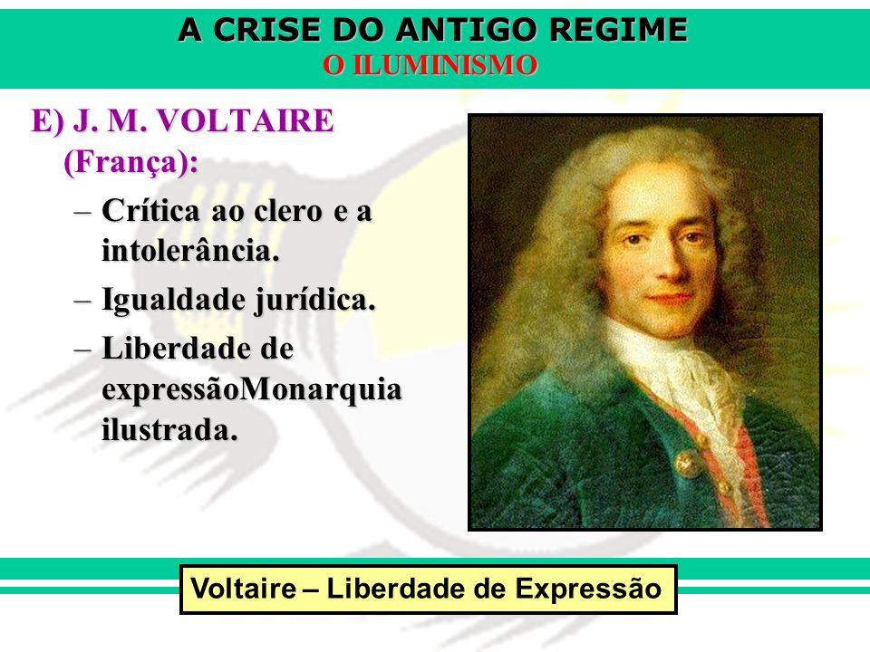 E) J. M. VOLTAIRE (França): Crítica ao clero e a intolerância.