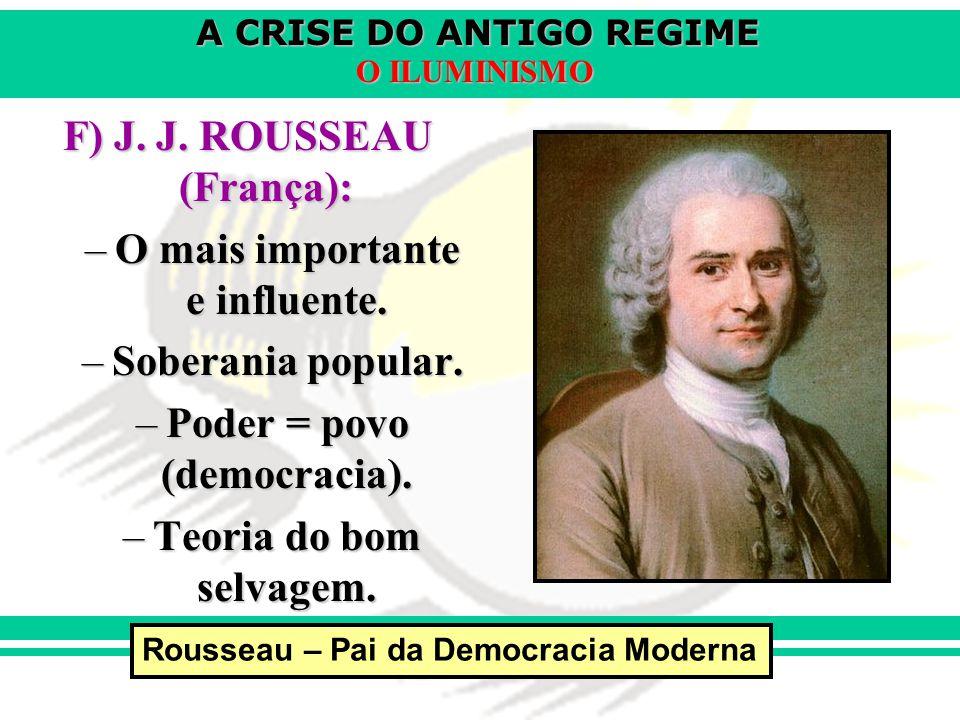 F) J. J. ROUSSEAU (França): O mais importante e influente.