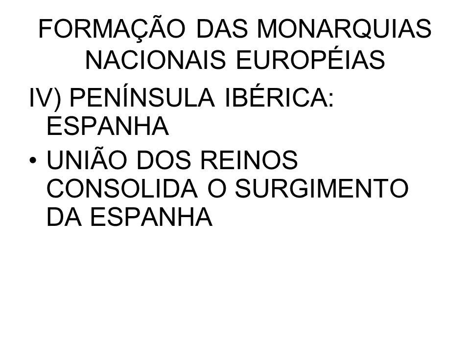 FORMAÇÃO DAS MONARQUIAS NACIONAIS EUROPÉIAS