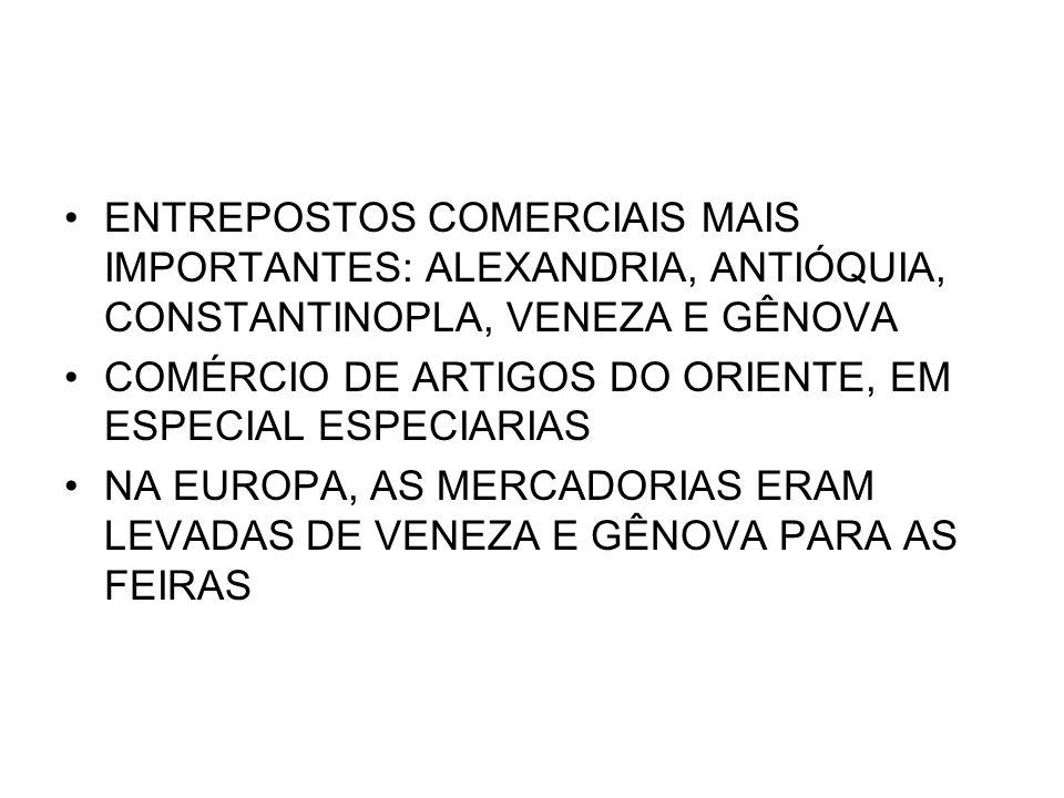 ENTREPOSTOS COMERCIAIS MAIS IMPORTANTES: ALEXANDRIA, ANTIÓQUIA, CONSTANTINOPLA, VENEZA E GÊNOVA
