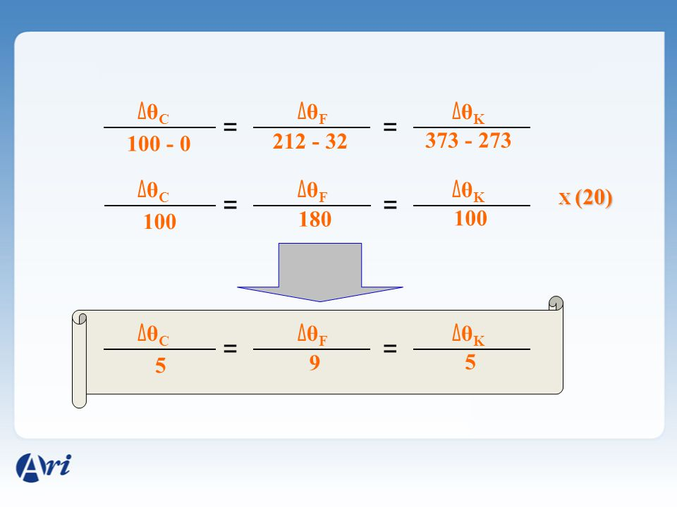 = = = = = = ΔθC ΔθF ΔθK 100 - 0 212 - 32 373 - 273 ΔθC ΔθF ΔθK 100 180