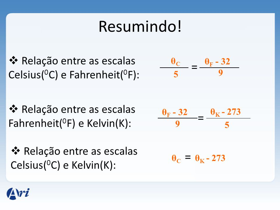 Resumindo! Relação entre as escalas Celsius(0C) e Fahrenheit(0F):