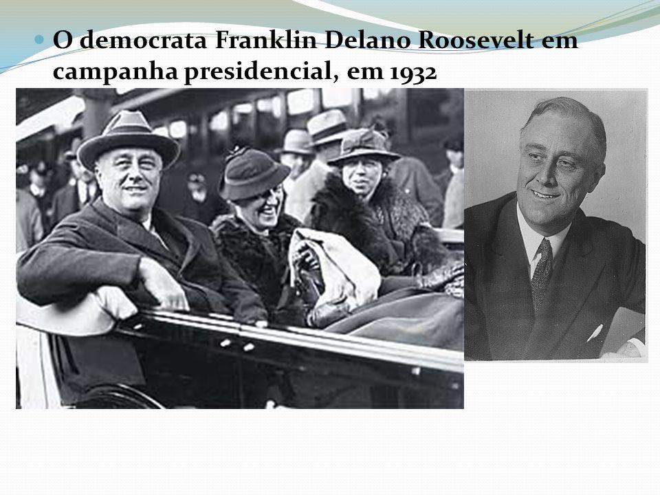 O democrata Franklin Delano Roosevelt em campanha presidencial, em 1932