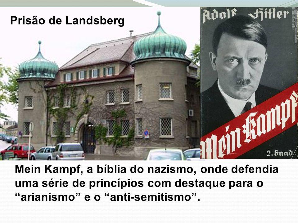 Prisão de Landsberg Mein Kampf, a bíblia do nazismo, onde defendia uma série de princípios com destaque para o arianismo e o anti-semitismo .