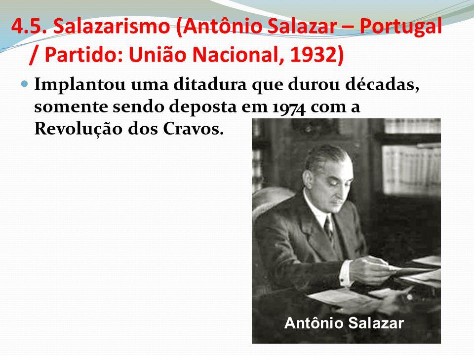 4.5. Salazarismo (Antônio Salazar – Portugal / Partido: União Nacional, 1932)