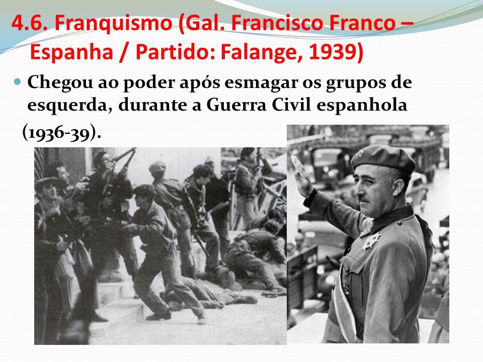 4.6. Franquismo (Gal. Francisco Franco – Espanha / Partido: Falange, 1939)