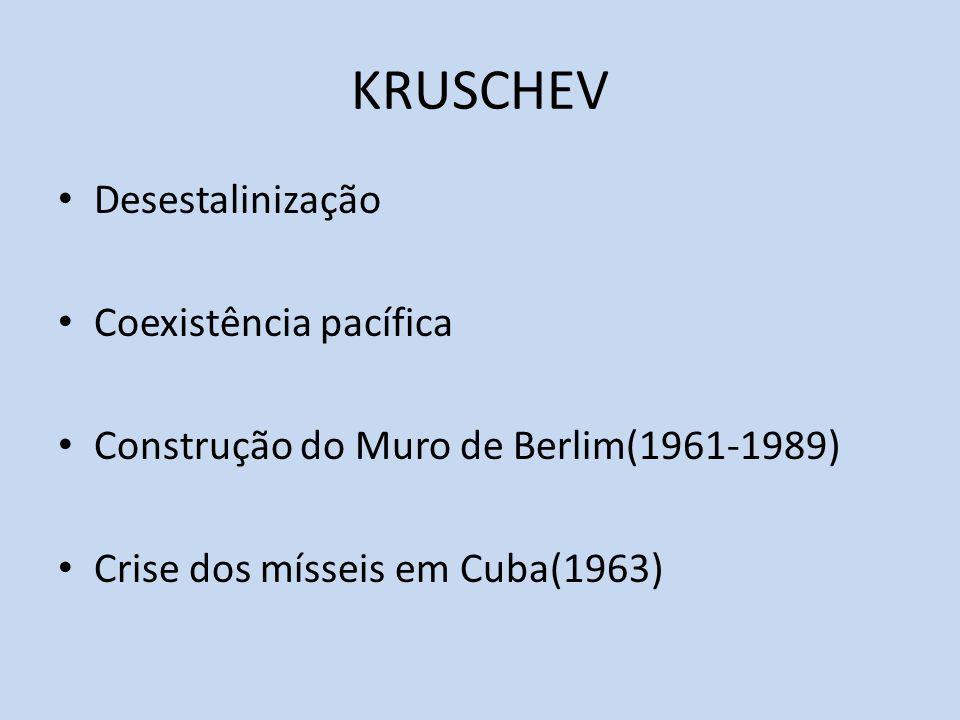 KRUSCHEV Desestalinização Coexistência pacífica