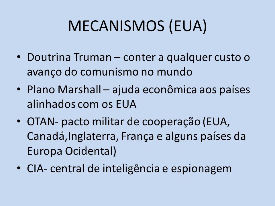 MECANISMOS (EUA) Doutrina Truman – conter a qualquer custo o avanço do comunismo no mundo.