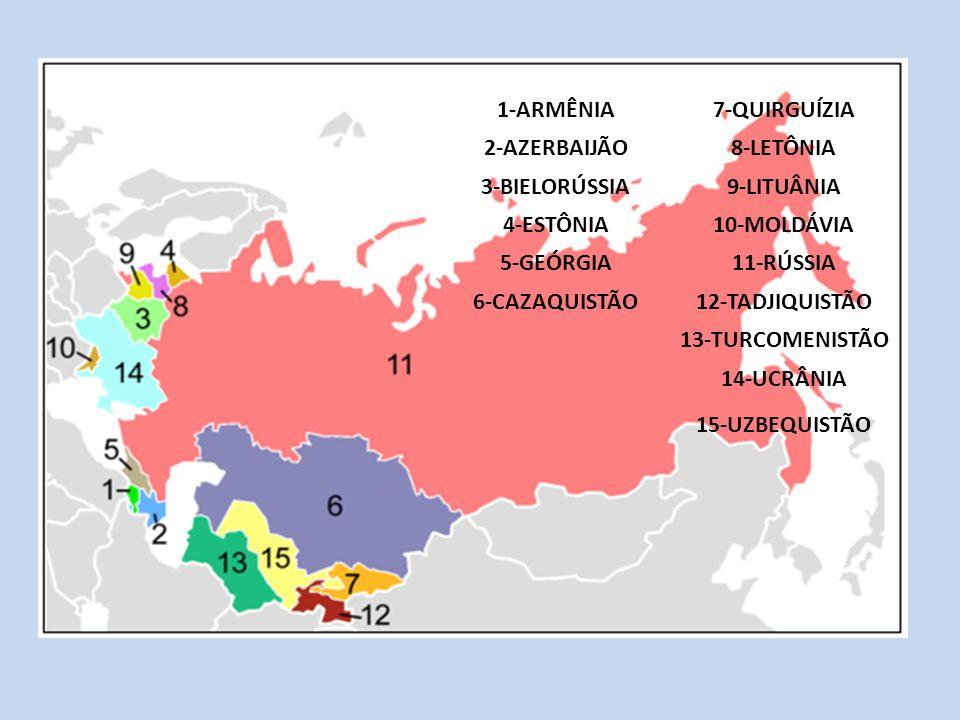 1-ARMÊNIA 7-QUIRGUÍZIA. 2-AZERBAIJÃO. 8-LETÔNIA. 3-BIELORÚSSIA. 9-LITUÂNIA. 4-ESTÔNIA. 10-MOLDÁVIA.