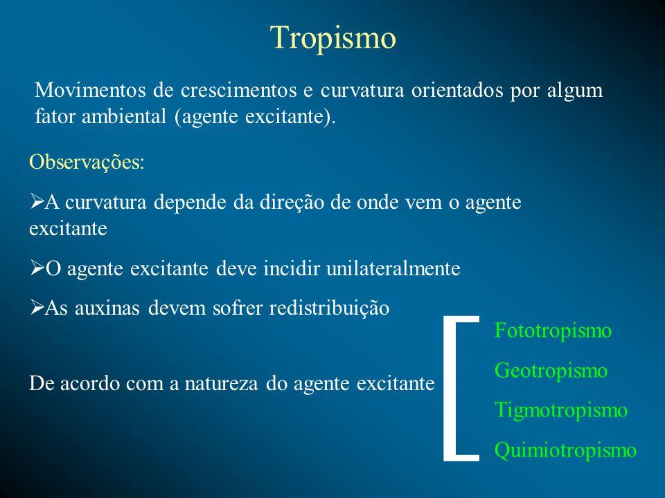 Tropismo Movimentos de crescimentos e curvatura orientados por algum fator ambiental (agente excitante).