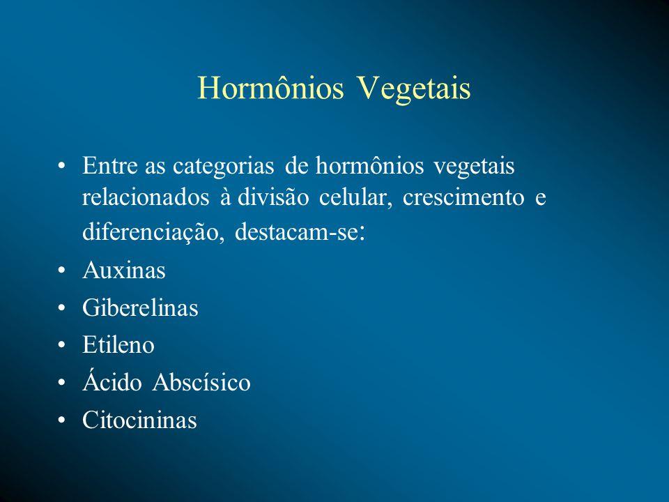 Hormônios Vegetais Entre as categorias de hormônios vegetais relacionados à divisão celular, crescimento e diferenciação, destacam-se: