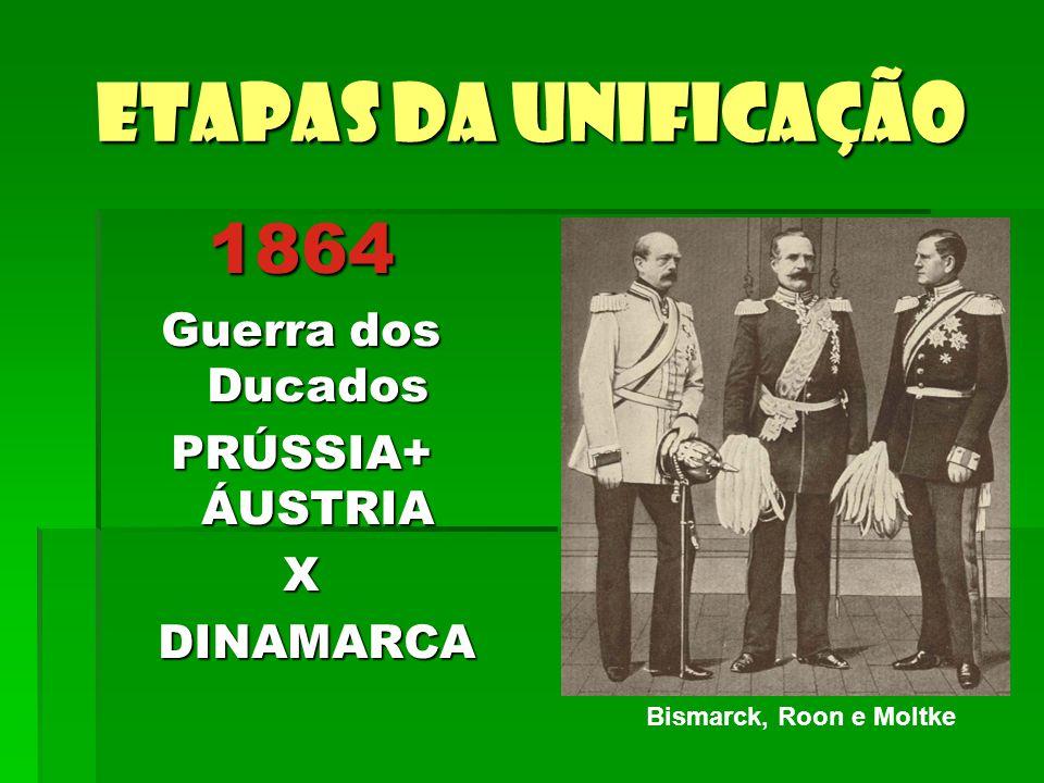 Etapas da unificação 1864 Guerra dos Ducados PRÚSSIA+ ÁUSTRIA X