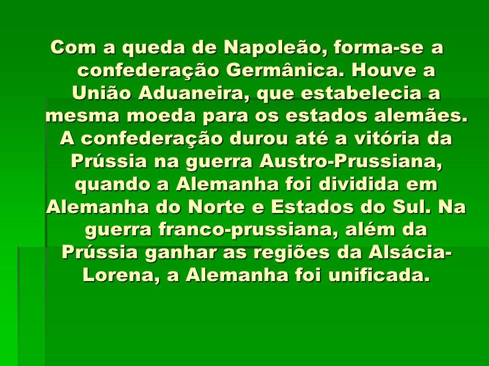Com a queda de Napoleão, forma-se a confederação Germânica