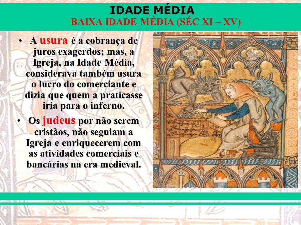 A usura é a cobrança de juros exagerdos; mas, a Igreja, na Idade Média, considerava também usura o lucro do comerciante e dizia que quem a praticasse iria para o inferno.