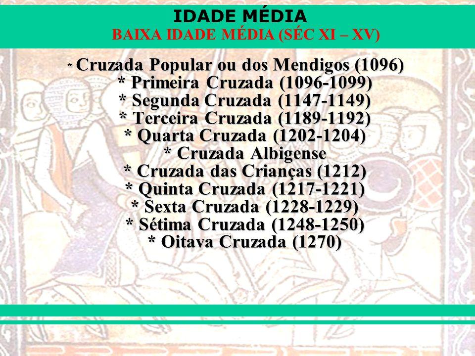 Cruzada Popular ou dos Mendigos (1096). Primeira Cruzada (1096-1099)