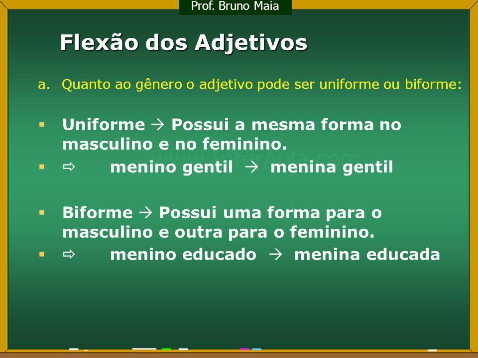 Prof. Bruno Maia Flexão dos Adjetivos. a. Quanto ao gênero o adjetivo pode ser uniforme ou biforme: