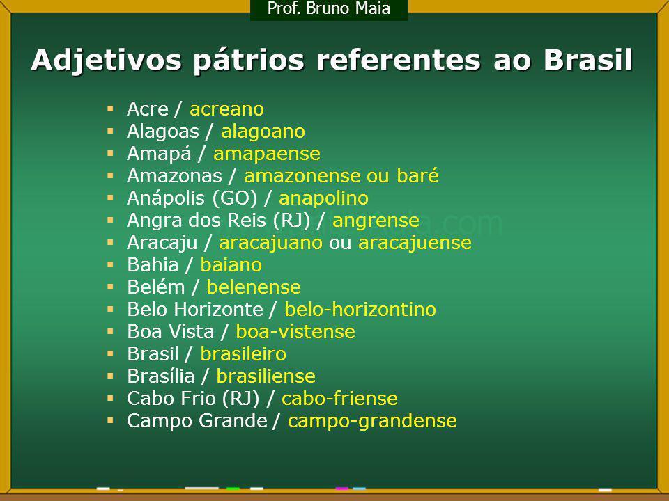 Adjetivos pátrios referentes ao Brasil