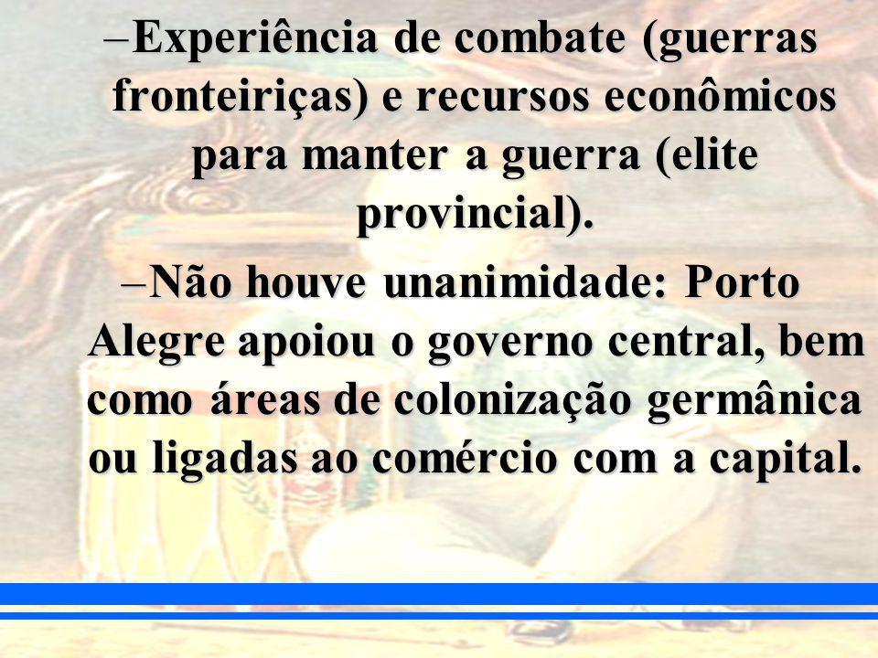 Experiência de combate (guerras fronteiriças) e recursos econômicos para manter a guerra (elite provincial).