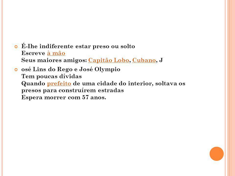 É-Ihe indiferente estar preso ou solto Escreve à mão Seus maiores amigos: Capitão Lobo, Cubano, J