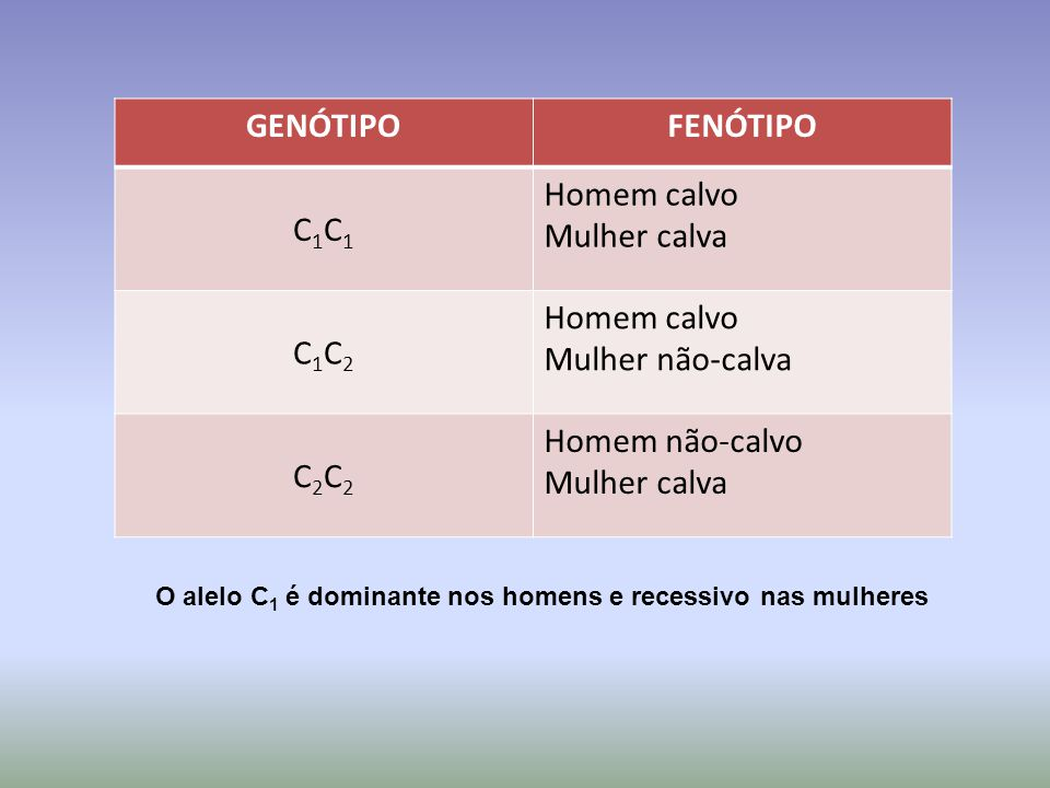 O alelo C1 é dominante nos homens e recessivo nas mulheres